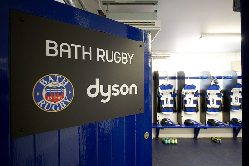 The entrance to the Bath Rugby changing rooms
