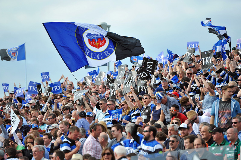 Bath supporters in the crowd celebrate