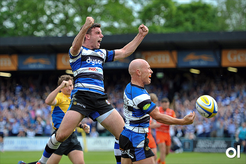 George Ford and Peter Stringer - Bath v Leicester Tigers