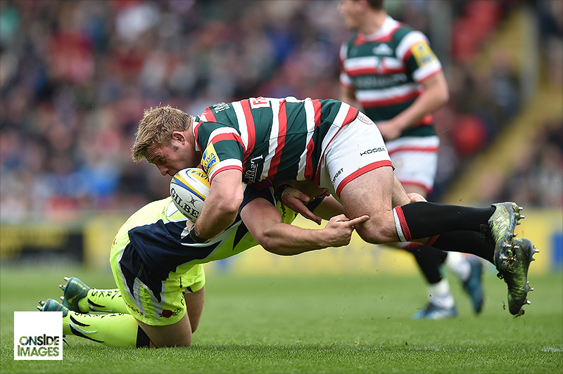 Tom Youngs of Leicester Tigers is tackled