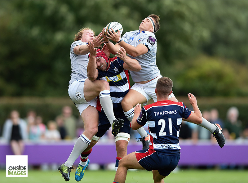 Darren Atkins of Bath Rugby leaps for the ball against Westcountry rivals Bristol