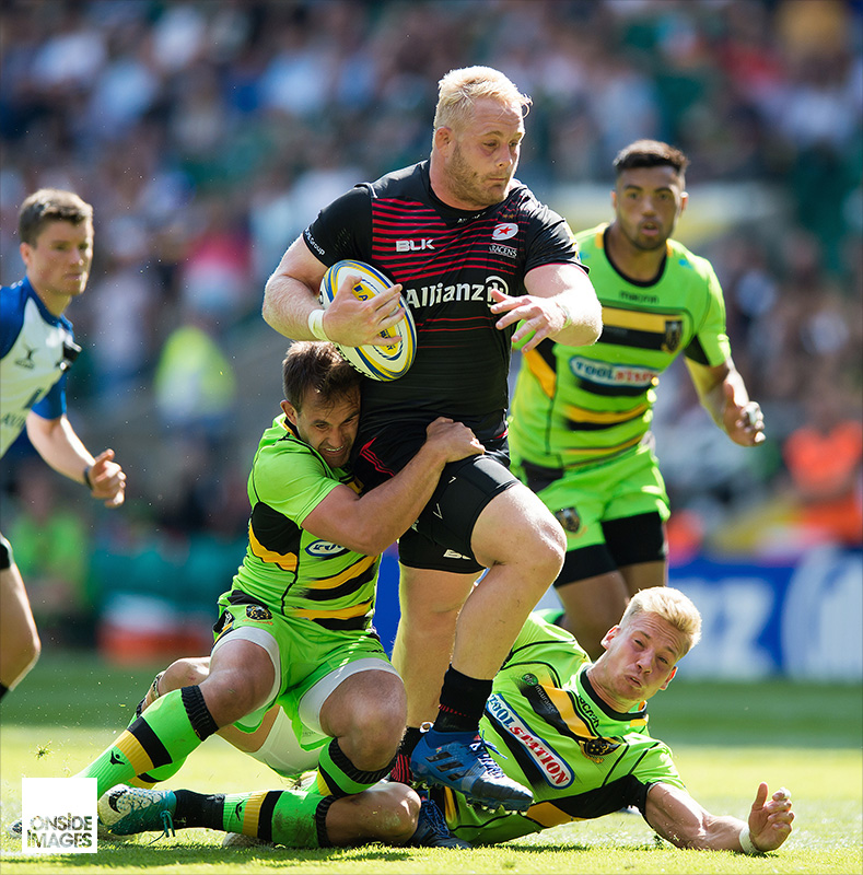 Vincent Koch of Saracens takes on the Northampton Saints defence