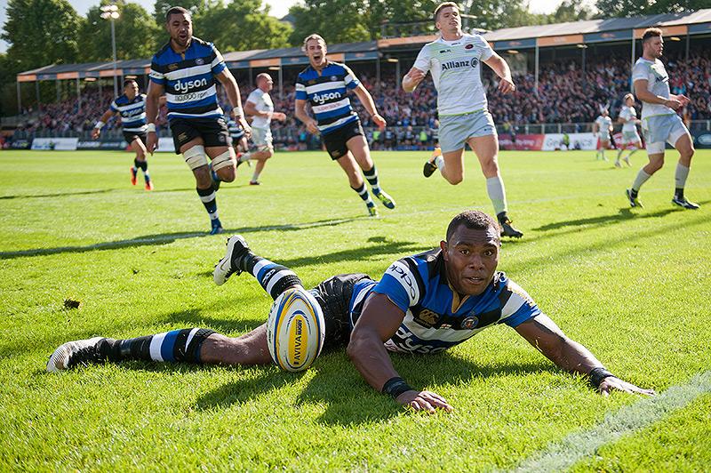 Semesa Rokoduguni reacts to scoring against Saracens