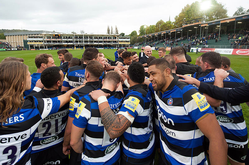 Bath Rugby celebrate a home win