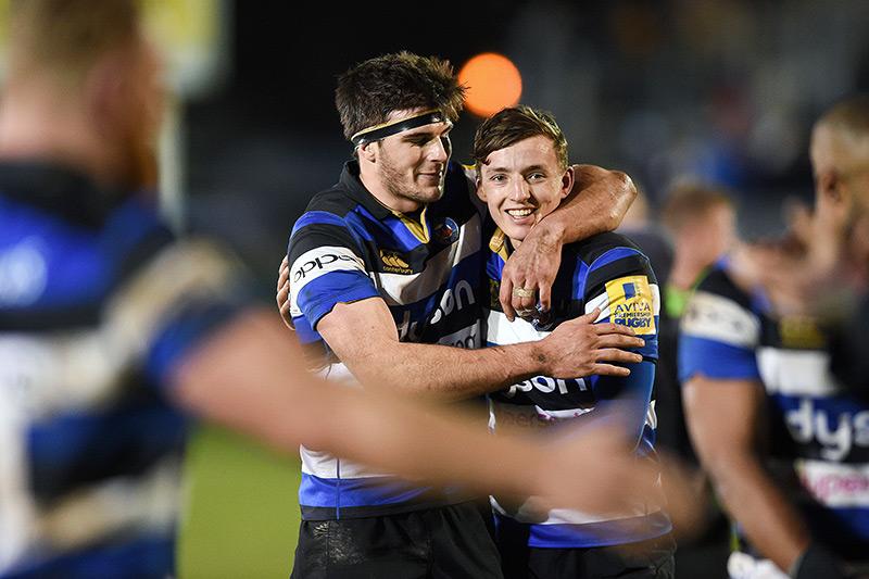 Josh Bayliss and Darren Atkins celebrate a home win