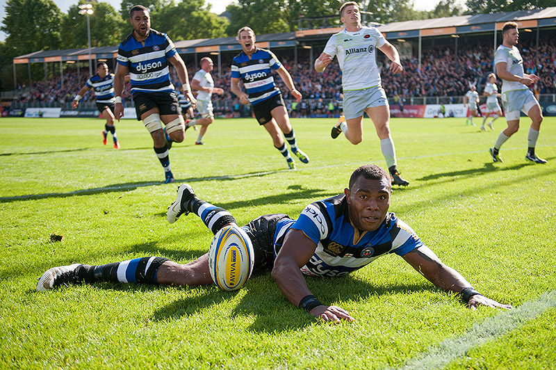 Semesa Rokoduguni of Bath Rugby reacts to scoring a try against Saracens