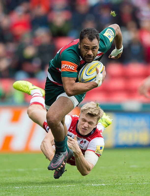 Telusa Veainu of Leicester Tigers gets past Ollie Thorley of Gloucester Rugby
