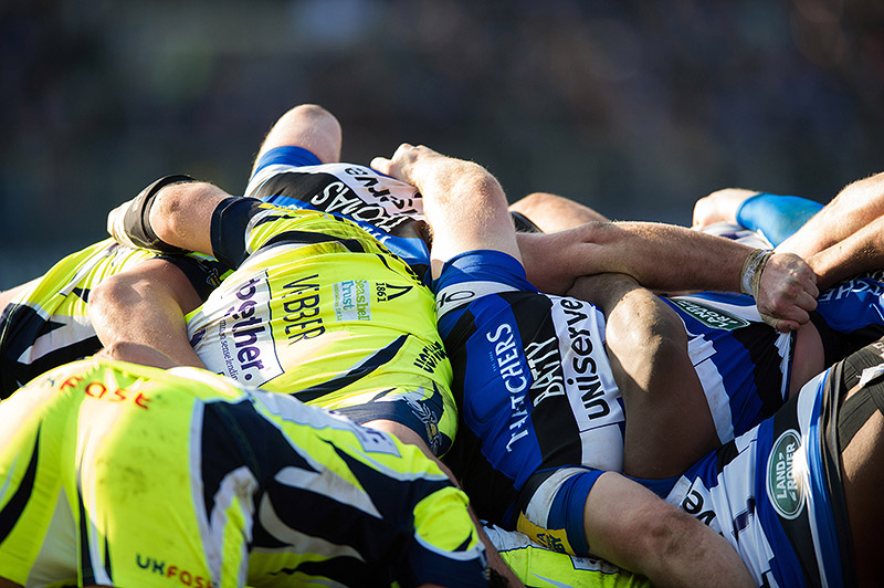 The Sale Sharks and Bath Rugby packs at a scrum